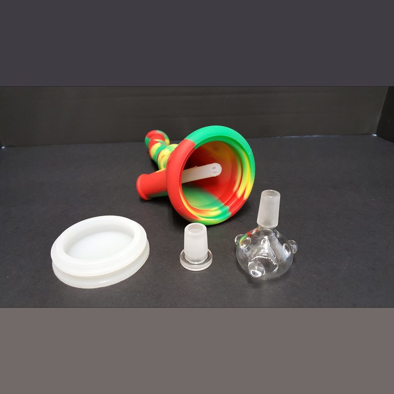 tie dye silicone water pipe showing the colorful pipe and 14mm slide.|The unbreakable